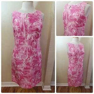 Talbots Pure Silk Tropical Print Sleeveless Dress